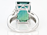 Teal Fluorite Rhodium Over Sterling Silver Ring 8.48ctw