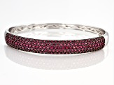 Raspberry Color Rhodolite Rhodium Over Silver Bracelet 5.26ctw