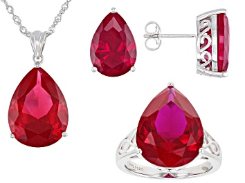 Picture of Red Lab Created Ruby Rhodium Over Silver Jewelry Set 37.09ctw