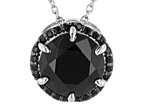 Black Spinel Rhodium Over Sterling Silver Necklace 3.72ctw
