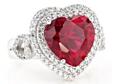 Red Lab Created Ruby Rhodium Over Silver Ring 7.38ctw
