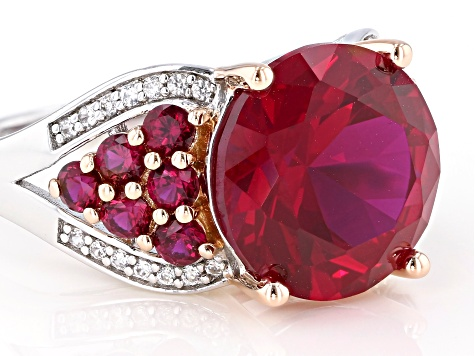Red Lab Created Ruby Rhodium Over Sterling Silver Ring 7.61ctw