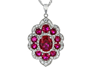 Red Lab Created Ruby Rhodium Over Sterling Silver Pendant with Chain 6.01ctw