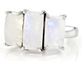 White rainbow moonstone sterling silver 3-stone ring