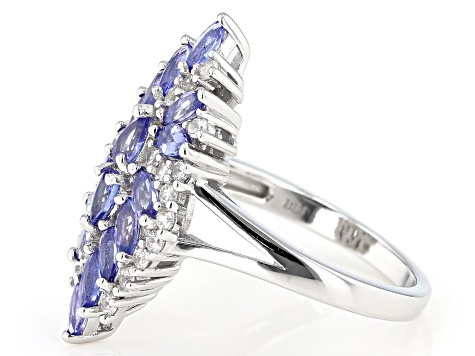 Blue Tanzanite Rhodium Over Silver Ring 1.69ctw