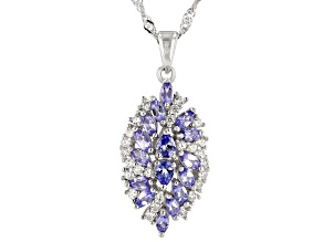 Blue Tanzanite Rhodium Over Silver Pendant With Chain 1.69ctw