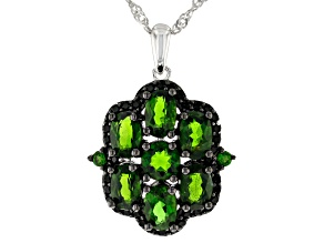 Green Chrome Diopside Rhodium Over Silver Pendant With Chain  3.61ctw