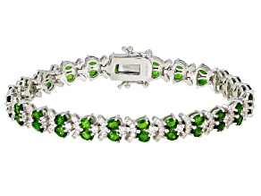 Green chrome diopside rhodium over silver tennis bracelet 10.69ctw