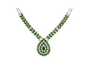 Green chrome diopside rhodium over silver necklace 14.90ctw