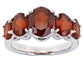 Red hessonite garnet rhodium over sterling silver ring 4.83cctw
