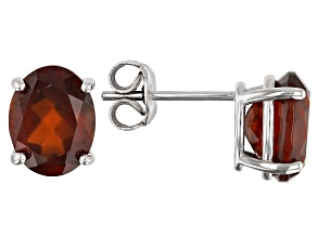 Red Hessonite Garnet Rhodium Over Silver Stud Earrings 4.55ctw