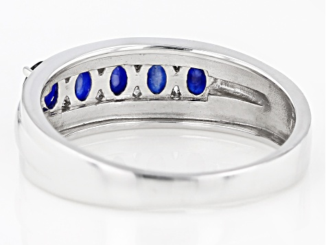 Blue Sapphire Rhodium Over Sterling Silver ring .94ctw