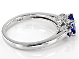 Blue tanzanite rhodium over sterling silver 3-stone ring 1.05ctw