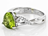 Green Peridot Rhodium Over Silver Ring 2.61ctw