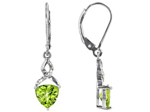 Green Peridot Rhodium Over Silver Earrings 2.21ctw
