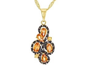 Orange spessartite 18k yellow gold over silver pendant with chain 1.28ctw