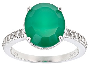 Green agate rhodium over sterling silver ring 3.89ctw