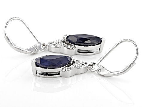 Blue Sapphire Rhodium Over Silver Earrings 3.56ctw