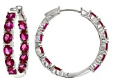 Red Lab Created Ruby Rhodium Over Silver Earrings 6.55ctw