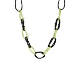 Green Peridot & Black Spinel Rhodium Over Sterling Silver Necklace 98.00ctw