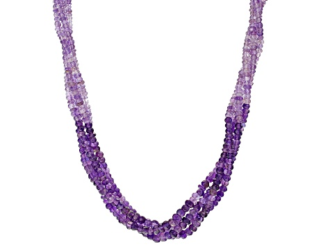 Purple Amethyst Rhodium Over Sterling Silver 4-Strand Necklace Approximately 250.00ctw