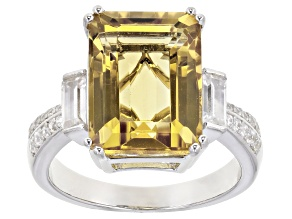 Yellow Citrine Rhodium Over Silver Ring 6.13ctw