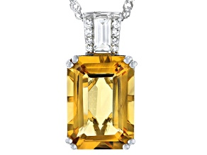 Yellow Citrine Rhodium Over Silver Pendant With Chain 5.76ctw