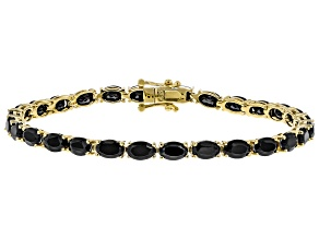 Black Spinel 18k Yellow Gold Over Silver Bracelet 13.80ctw
