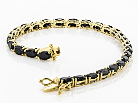 Black Spinel 18k Gold Over Silver Bracelet 13.80ctw