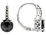 Black spinel rhodium over sterling silver earrings 3.40ctw