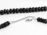 Black Spinel Rhodium Over Sterling Silver Necklace 340.00ctw