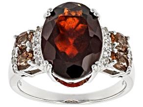 Red Hessonite Garnet Rhodium Over Sterling Silver Ring 6.13ctw.