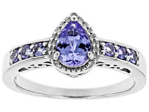 Blue tanzanite rhodium over sterling silver ring .73ctw