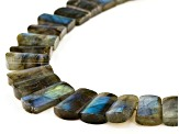 Gray Labradorite Rhodium Over Sterling Silver Bead Necklace