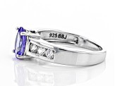 Blue tanzanite rhodium over sterling silver ring 1.48ctw