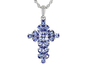 Blue tanzanite rhodium over silver pendant with chain 3.53ctw