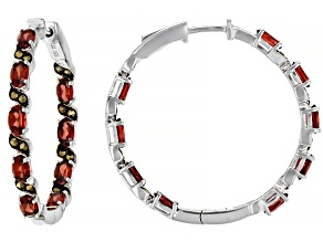 Red garnet rhodium over sterling silver inside/outside hoop earrings 4.43ctw