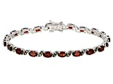 Red Garnet Rhodium Over Sterling Silver Bracelet 9.52ctw