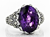 Purple amethyst rhodium over sterling silver ring 4.89ct