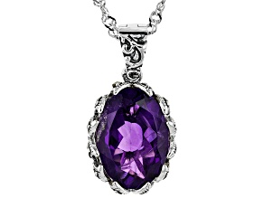 Purple amethyst rhodium over silver enhancer with chain 4.89ct