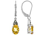 Yellow citrine rhodium over sterling silver dangle earrings 1.89ctw