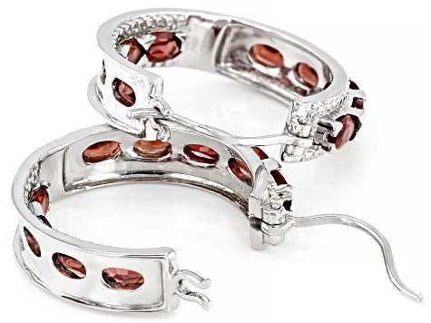 Red garnet rhodium over sterling silver inside/outside hoop earrings 4.00ctw