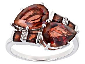 Red Labradorite Rhodium Over Silver Ring 3.45ctw