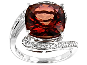 Red Labradorite Rhodium Over Silver Ring 5.95ctw