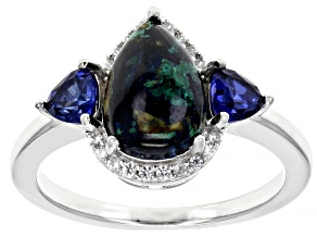 Blue Azurmalachite Rhodium Over Silver Ring .52ctw