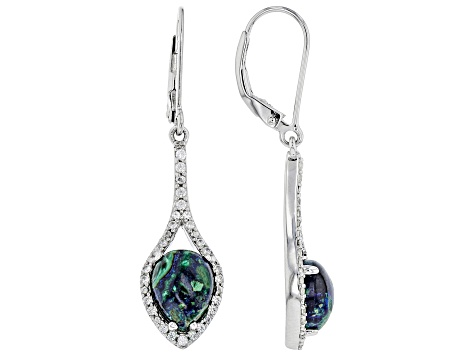 Blue Azurmalachite Rhodium Over Silver Earrings .31ctw