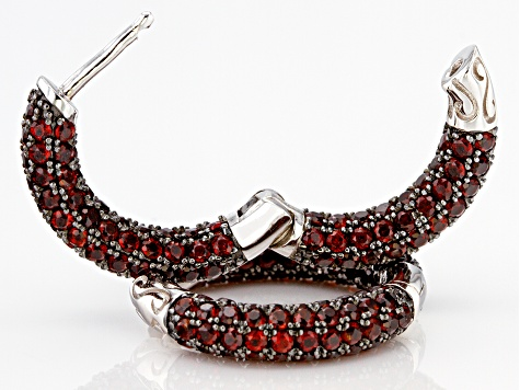 Red Garnet Rhodium Over Silver Earrings 3.91ctw