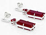 Red lab created ruby rhodium over silver dangle earrings 15.30ctw