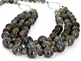 Gray labradorite  bead 3-strand rhodium over sterling silver necklace