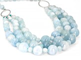 Blue aquamarine 3-strand rhodium over sterling silver necklace